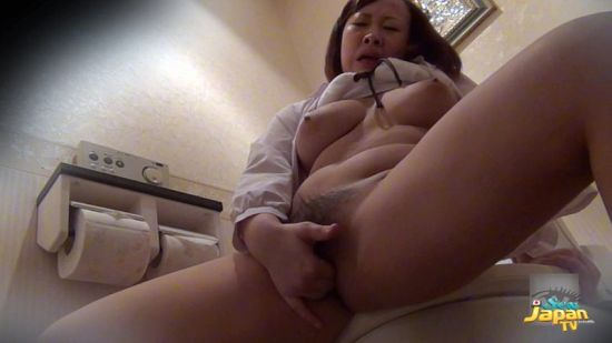 Big Boobs Office Lady Nana Sneaks in to Bathroom to Masturbate