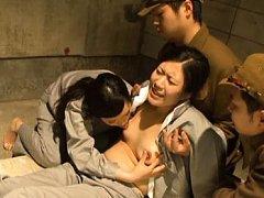 Japanese AV Model has tits sucked by dame in orgy...