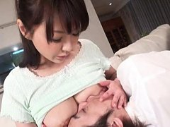 Midori Nashiro Asian feeds fellow with her appetiz...