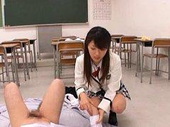 Riku Yamaguchi Asian in sexy uniform rubs guy cock...