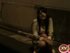 Miku Sunohara Asian is caught sitting alone on the...