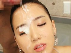 Japanese AV Model with cum all over pretty face ru...
