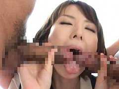 Yui Hatano Asian has boobies fondled while licking...
