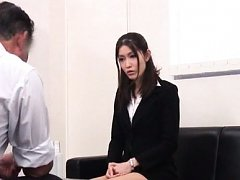 Japanese AV Model in sexy office uniform has to tr...