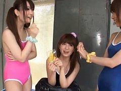 Japanese AV Model and chicks try bath suits and ha...