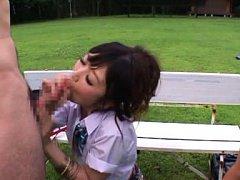 Hibiki Ohtsuki Asian and doll in uniform suck shlo...