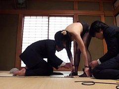 Japanese AV Model in stockings has tits exposed an...