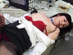 Japanese AV Model rides boner through nylon stocki...