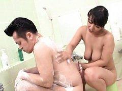 Japanese AV Model with big nasty hooters soaps man...