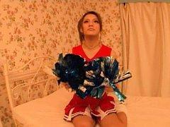 Japanese AV Model cheerleader has hot boobies suck...