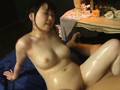 Sunao Sakura Asian gets lotion on hot assets while...