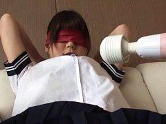 Asuka Shiratori Asian with eyes covered gets vibra...