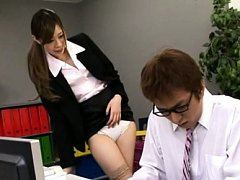 Japanese AV Model in stockings shows pussy in pant...