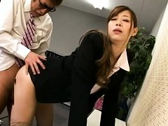 Japanese AV Model has twat licked on office after...