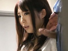 Japanese AV Model gets hard dick close to mouth an...