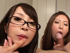 Mao Mizusawa Asian and dame have cans touched and...