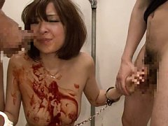 Hikaru Shiina Asian in chains gets ketchup on mout...
