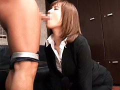 Suzu Tsubaki Asian in office suit sucks balls and...