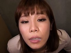 Suzu Tsubaki Asian in office suit sucks boner of m...