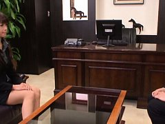 Maki Hokujo Asian in office suit and stockings is...