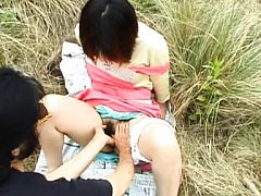 Himawari Asian babe has hairy cum dumpster fucked...