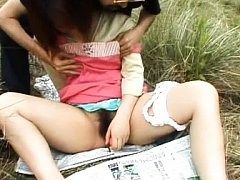 Himawari Asian fucks hairy peach with dildo and is...