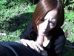 Japanese AV Model shows some of her pussy under bo...