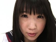 Miku Aono Asian in school uniform spreads legs and...