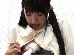 Miku Aono Asian in long socks gives blowjob and ha...