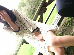 Mikako Abe Asian in cute dress is very happy and n...