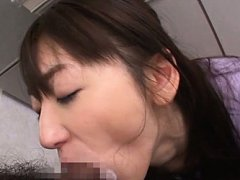 Saki Kouzai Asian swallows cock in mouth and is do...