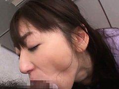 Saki Kouzai Asian swallows cock in mouth and is do...