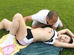 Japanese AV Model is touched on legs and on panty...