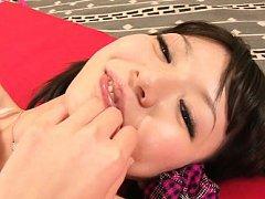 Aya Eikura Asian smiles with cum on mouth after bi...