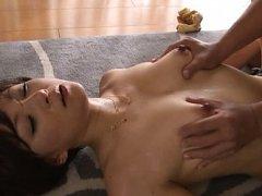 Ai Komori Asian has jugs with dark nipples touched...