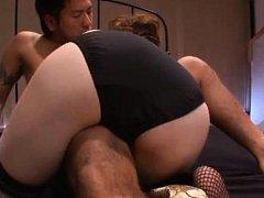 Honami Uehara Asian with huge nude cans rubs her c...