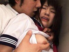 Tsuna Nakamura Asian in uniform has boobs touched...