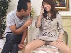 Mizuki Takaoka spreads legs in stockings and has a...