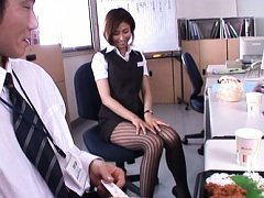 Akari Asahina Asian in office uniform is touched o...