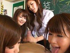 Japanese AV Model and chicks lick fellow cock and...