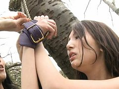 Rumi Kamida Asian is tied of tree and has titties...