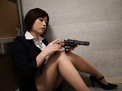 Saki Okuda Asian in office suit puts gun in her co...
