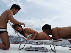 Minori Hatsune Asian has hairy cunt fingered and l...