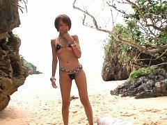 Yuuki Natsume Asian has crack eaten under bikini o...