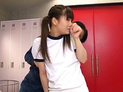 Yuri Shinomiya Asian has cans touched over t-short...