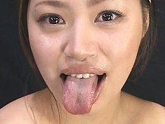 Marina Muranishi chokes down over 100 semen shots