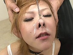 Cute girls get nosehooked and blasted by semen fac...