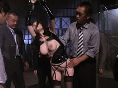 JULIA Asian whore is tied and has big boobs tocuhe...