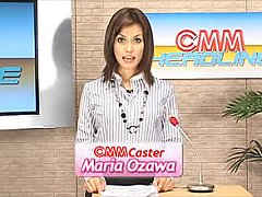 TV News girl Maria Ozawa gets blasted with bukkake...