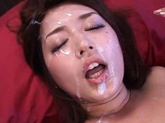 Miku Hasegawa Asian gets cum on face after sucking...